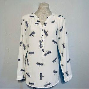 DRESSBARN Dragonfly print blouse